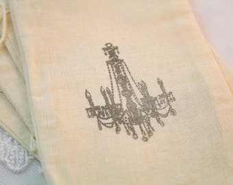 Chandelier Favor Bags Stamped Muslin Bags Drawstrings Paris 4x6 OR 5x7