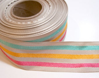 Beige Ribbon, Beige Spring Stripe Polyester Ribbon 1 1/2 inches wide x 8 yards, Offray Fun Stripes, 50% Off Sale