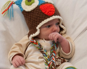 Retro Brown Owl Earflap Hat - Newborn - 3months