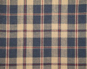Country Cupboard Navy Plaid Cotton Homespun Material 1 Yard