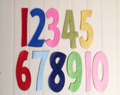 """Wool Felt Number Die Cut Set - 4"""" Tall Skinny - Great for Learning"""