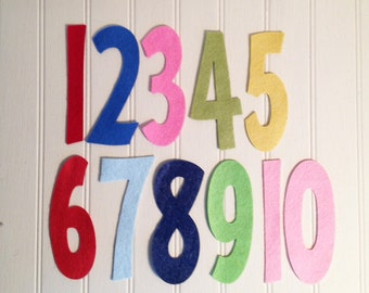 "Wool Felt Number Die Cut Set - 4"" Tall Skinny - Great for Learning"