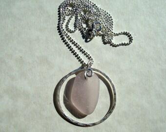 Sea Glass Necklace- Lavender Seaglass -Sterling Silver Circle Pendant