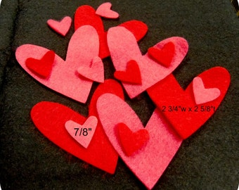 Mixed Felt Heart 16 pcs Red, Shocking Pink or your color choice