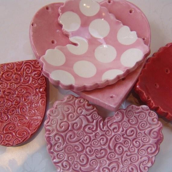LOVE ceramic heart dish set of 5