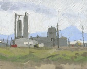Lumber Mill, White City, Oregon: Original Oil Painting Urban Plein Air Landscape