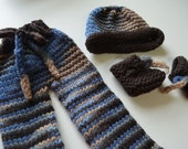 Knitted wool longies, booties, and hat for Waldorf Doll