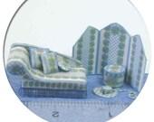 "Dollhouse Miniature Quarter Scale Kit Blue Iris Chaise and screen 1/4"" 1:48"