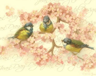 3 Birds Pink Blossoms and Sweethearts, Instant Digital Download,1904 antique French postcard  FrA165