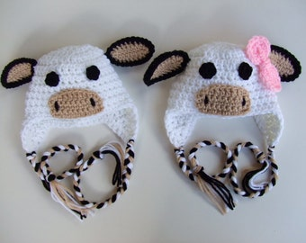 Crochet Baby Hat - Boy Cow Hat - Girl Cow Hat - You pick style and size