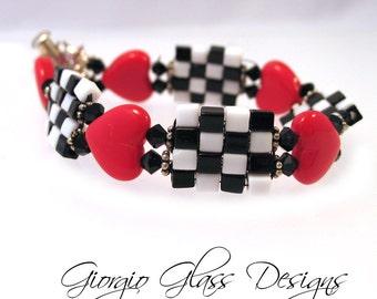 Retro Coke Black and White Checkered Beaded Bracelet handmade SRA SRAJD Artisian Le Team