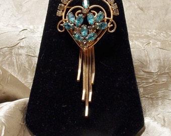 Vintage Deco Rhinestone Brooch Pendant