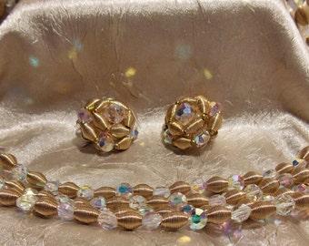 Vintage Gold Crystal Necklace Earring Set