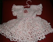 Pink and and White Polka  Dot Crochet Baby Dress Size 6-12 months, Baby Girl, Matching Hat and Bloomers Decorative flowers adorn Hat &Dress