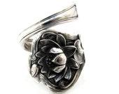 Lotus Spoon Ring Size 5 - 10 L Monogram Sterling Silver