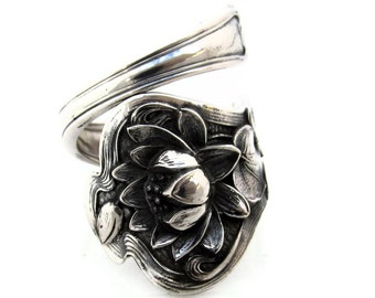 Lotus Spoon Ring Size 5 - 10 L Monogram Sterling Silver