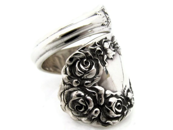 Sterling Silver Spoon Ring Size 6 to12 Rose By Wallace 1888 Wrapped Large