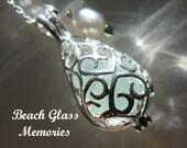 Sea Glass Necklace Locket, Beach Glass Jewelry, Seaglass Necklace, Aqua Necklace Beach Glass Necklace