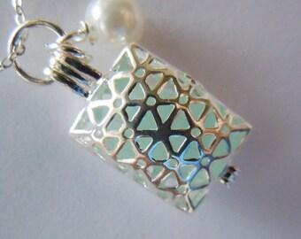 Aqua Sea Glass Pillow Locket, Beach Glass Jewelry, Seaglass Necklace