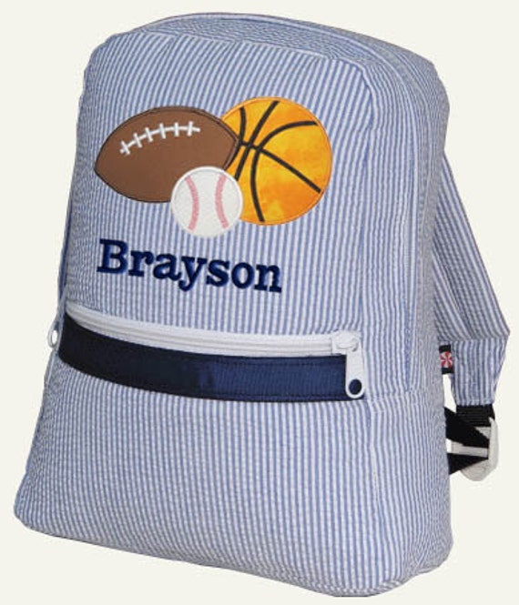 Children Backpack Personalized Sports Seersucker Monogrammed