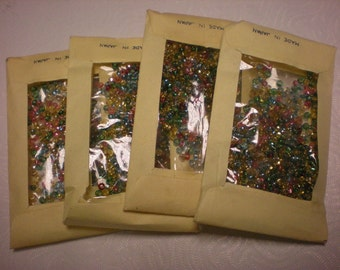 4 PACKS of VINTAGE seed beads glass made in japan along time ago