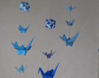 """Mix Sized Origami Mobile - 10 Cranes and 3 Modules (Blue Shades), folded from 3"""" (7.5cm) to 6"""" (15cm) Solid and Patterned Paper, Home Decor"""