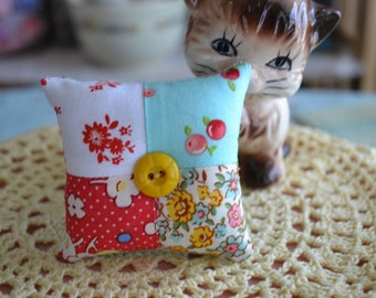 Sweet Mini Floral Patchwork Pincushion with Vintage Button