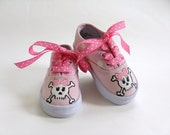 Girls Pirate Shoes, Kid's Skull and Crossbones Sneakers, Hand Painted for Baby and Toddlers