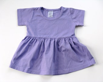 Girls Lavender Dress, Blank Clothing, Hand Dyed Plain Purple Short  Dress for Baby and Toddler