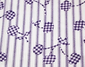 SALE vintage 60s cotton fabric, featuring gingham cherries and stripe design, 1 yard, 2 available priced PER YARD