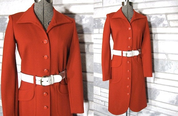 Vintage Jacket, 60s, Dress, Tomato Red, Wool, Knit, Button Front, Original Belt, White Patent Leather, Collar, Cutaway Hem, Rounded Hem