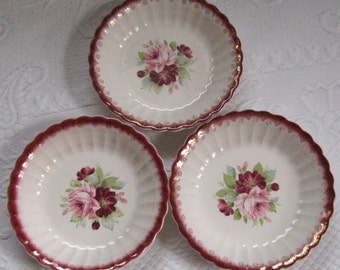 Limoges Rose Plate . Pink Rose Soup plate . Salad Plates .  American Limoges 1940s . Limoges