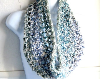 Infinity Scarf, Soft, Multicolored, Sage Green, Periwinkle Blue, Teal, Off White, Crocheted