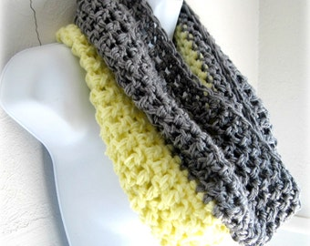 Clearnace Sale Infinity Scarf Cowl- Yellow and Grey Extra Large Chunky Scarf, Cowl, Loop, Pale Yellow and Gray
