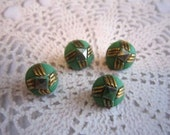 Green and Gold Glass Vintage Buttons - 4 Depression Diminutive - 9mm