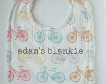 Bike Around - Boys Bicycle ORGANIC Bib - For the Mod, Fashionable Baby - Chenille and Pearl Snap