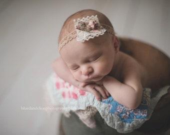 Lenny - Vintage Inspired Rosette Headband - Pink Cream Ivory Beige Nude Lace Ribbon - Newborn Infant Baby Girl Toddler Adult