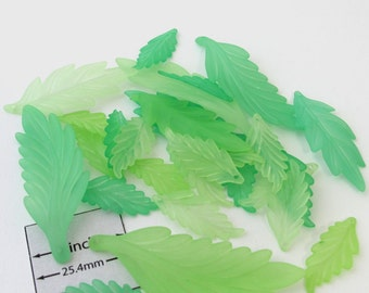 Frosted Green Three Sizes LEAF charms, beads, Sold per 29 pc, 099-28