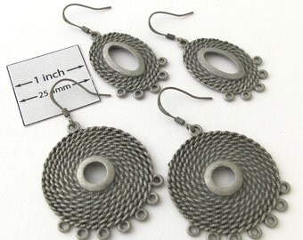 Antiqued Silver 35mm Round and 30mm x 20mm Oval Roped Chandelier Earrings, Set of 2 pairs, 099-31