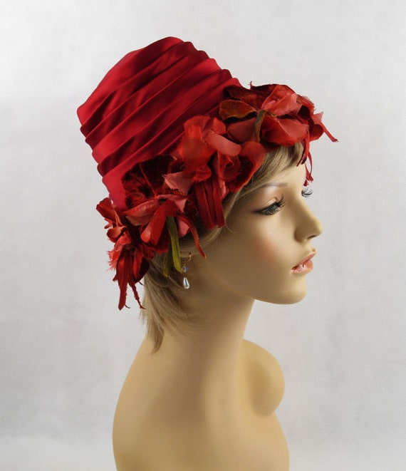 Vintage 1960s 60s Hat Wine Red Satin Flowerpot Style with Silk and Velvet Florals from the Fashion Guild Sz 21