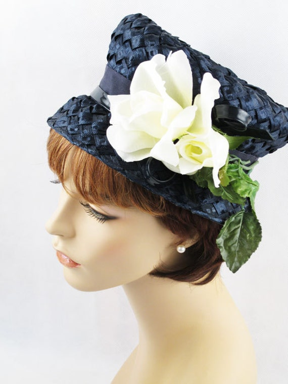 Vintage 1960s 60s Hat Navy Blue Straw Bucket Style with White Roses
