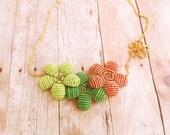 Statement Flower Necklace - Citrus Beaded Flower Necklace - Ododo Originals Beadwork