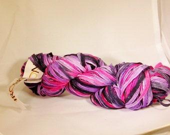 ribbon yarn, Streamers, Ironstone Yarn, violet, fuschia purple, C, destash