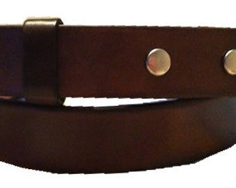 """Narrow Brown Leather Belt Strap - Snap On Changeable - Mens Womens - 1 1/8"""" - Sizes 31 32 34 36 38 40 42 44 inch - 20+ OTHER STYLES AVAIL"""