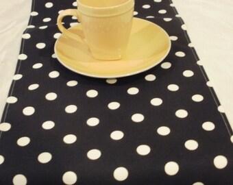 POLKA DOT LINENS- Table runner, napkins, placemats, white dots on Black Runner,  Wedding, Bridal, Home Decor, Olivia Party