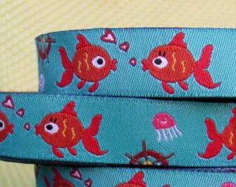 15mm x 1yard (fish) woven ribbon (S638)