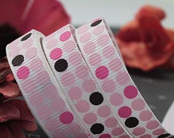 9mm x 5yards (pink brown hot pink polka dot on white) grosgrain ribbon (S683)