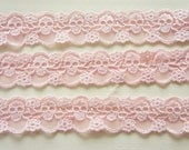 2 Yards Skull Lace Trim (30mm wide) Baby Pink