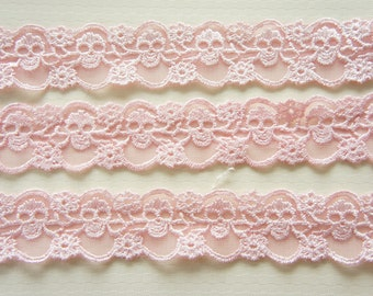 155cm+185cm Skull Lace Trim (30mm wide) Baby Pink (((LAST)))