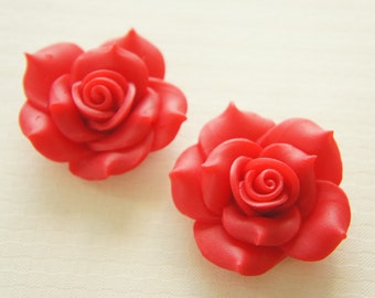 1 pcs Huge Polymer Clay Rose Cabochon (40mm) Red FL326 (((LAST)))